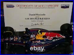118 Minichamps #110140003 Daniel Ricciardo Signed Red Bull RB10 2014 100pcs