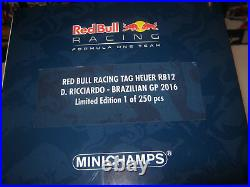 118 RED BULL RB12 D. Ricciardo 2016 Brazil GP 1 of 250 MINICHAMPS OVP new