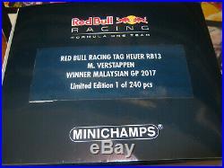 118 RED BULL RB13 M. Verstappen WINNER MALAYSIAN GP 2017 L. E MINICHAMPS OVP new