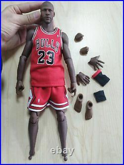 1/6 Michael Jordan S-09 Head+Red Chicago Bulls Jersey 23+Black Figure Body Model