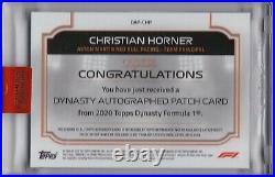 2020 Topps Dynasty Formula 1 F1 Christian Horner Red Bull Logo Patch Auto #3/5