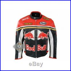 Black Red Motorcycle Racing Leather Jacket Red Bull Leather jacket Safety Padded