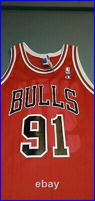 Chicago Bulls Vintage 90s Dennis Rodman Authentic Red Champion Jersey 52 XXL NWT