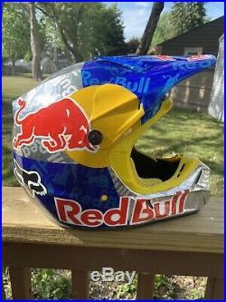 Custom painted red bull helmet