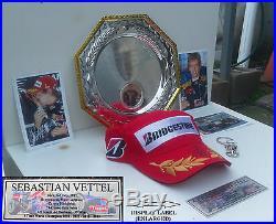 F1 Race Champ Sebastian Vettel -Red Bull -Renault (Signed Podium Hat) Display