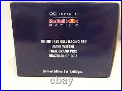 Minichamps 1/18 2013 Red Bull Racing Rb9 F1 Mark Webber 110130102 Brazil Final