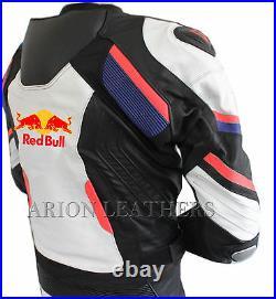 Motorcycle Leathers Suit Black White Motorbike Redbull Leather Jacket & Trouser