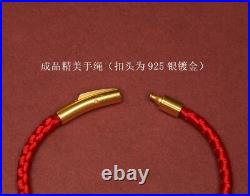 NEW 999 24K Yellow Gold 3D Lucky Flying Pig Red Knitted Bracelet 6 1/2 L