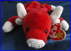 NEW Rare Ty Beanie Baby Snort Red Bull with Swing Tag / 11 Errors, PVC Pellets NWT
