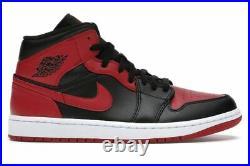 Nike Air Jordan 1 Mid Banned 2020 Bred 554724-074 Men & 554725-074 GS New DS