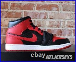 Nike Air Jordan 1 Mid Banned Black Red 554724-074 GS Men Size