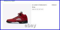 Nike Air Jordan Retro 5 Raging Bull / Toro Bravo 2021 Size 13 Confirmed Order