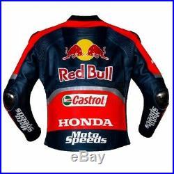 Riders Red Bull Motorcycle Cowhide Leather Street Racing Motorbike Jacket