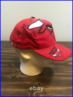 Vintage Chicago Bulls Snapback Hat Big Logo NBA The Game Jordan NEXT DAY SHIP