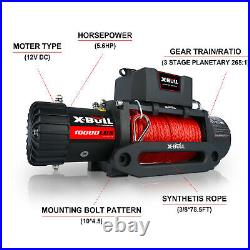X-BULL 10000LBS 12V Electric Winch Synthetic Rope Jeep Towing Truck Off Road 4WD
