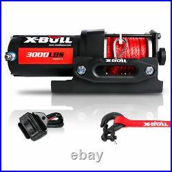 X-BULL 3000LBS 12V Electric Winch Synthetic Rope Blue Wireless Remotes ATV UTV