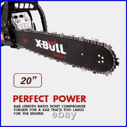 X-BULL 62cc Chainsaw 20 Bar Powered Chain Saw Engine 2 Cycle Gasoline Red