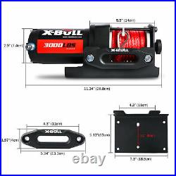 X-BULL Electric Winch 12V 3000LBS Synthetic Rope Red 12V Wireless ATV 4WD