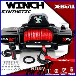 X-BULL XPV 14500LBS 12V Electric Winch Red Synthetic Rope Jeep Towing Truck